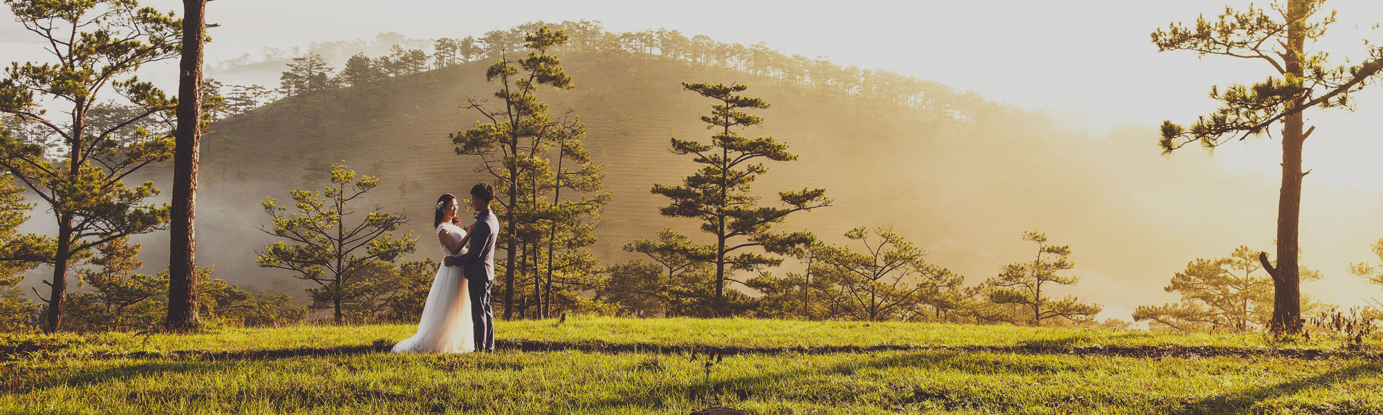 Bilde av ektepar på plen med fjell og trær i bakgrunnen